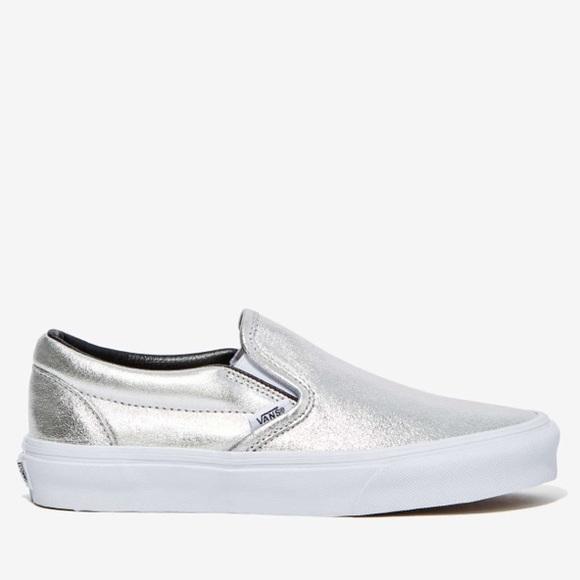 de53ad6b8d8377 Vans Classic Slip On Sneakers Metallic Silver